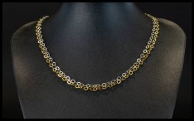 9ct Contemporary Two Tone Gold Necklace In White and Yellow Gold, Hoops and Rings Design.