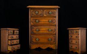 Georgian Period Good Quality - Handmade Oak Apprentice Piece Chest of Drawers. c.1900 - 1910. Well