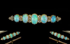 Victorian Period 18ct Gold Superb Quality & Stunning Opal & Diamond Set Brooch.
