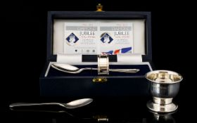 Broadway Silversmiths Boxed Silver Christening Set Spoon / Napkin Holder - In Brand New Condition /