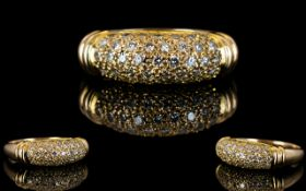 14ct Yellow Diamond Set Dress Ring, Stars Design, Set with Over 40 Small Diamonds.