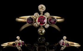 Early Victorian Period Gold Rubies and Diamonds Set Dress Ring - Renaissance Revival Cross Design.