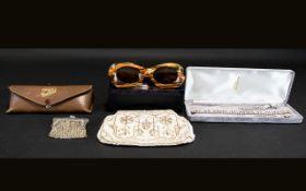 Helmecke Designer Retro Sunglasses tortoiseshell plastic frames.
