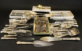 A Large Quantity of Silver Plated 'Kings Pattern' Flatware comprising 10 place settings.