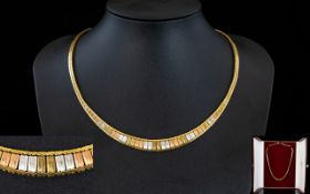 Ladies - Stunning and Quality 1970's 3 Tone Classic Design 9ct Gold Necklace In Pristine Condition,