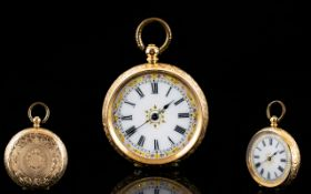 Antique Period Superb Quality Ladies 14ct Gold Open Faced Fob / Pocket Watch,