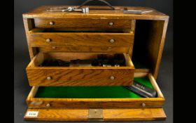 Early 20th Century Oak Cased Specimen/Watchmakers Cabinet Comprising five graduating drawers,