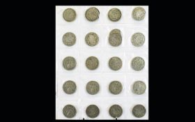 A Collection of British Silver Half Crowns ( 22 ) In Total. Various Dates of The 1920's & 1930's.