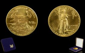 United States of America Liberty 50 Dollar Gold Coin - Date 1986. 1 oz of Fine Gold 999.