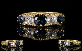 Antique Period Ladies - Superb Quality 18ct Gold 5 Stone Sapphire and Diamond Ring. Marked 18ct.