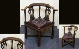1920's Carved Oak Rustic Corner Chair With Motif Carved To Back Rest - 'Rest Thy Self' Leather