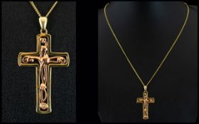 Clogau - Welsh 9ct Two Tone Gold 'Tree of Life' Cross Pendant with attached 9ct Gold Chain.