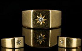 18ct Gold - Gents Single Stone Diamond Dress Ring,