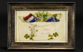 Early 20thC Embroidered Silk Postcard in Edwardian frame heavy cream card with embossed clover