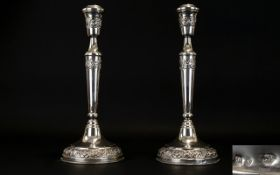 Antique Period - Tall and Impressive Pair of Nice Quality Judaica Silver Candlesticks of Good Form.