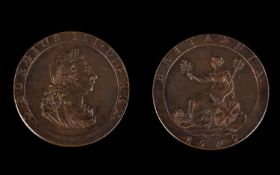 George III - Superb Quality 1797 Cartwheel Copper Penny. E.F to Uncirculated Condition - Please