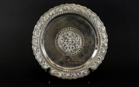 Early - Mid 20th Century White Metal Thailand Presentation Charger Scalloped,