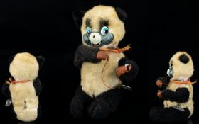 Japanese 1950's Wind up Mechanical Toy In The Form of a Little Panda Bear Playing a Game, When