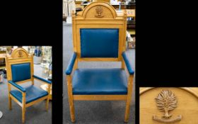 Ecclesiastical Interest Church Of Scotland Bishops Chair Large Chair upholstered to seat,