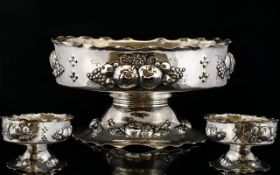 European - Nice Quality Late 19th Century Ornate Silver Fruit Bowl Decorated with Embossed Images