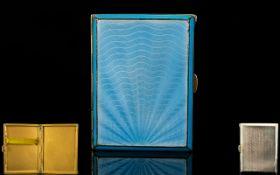 Antique Period Excellent Quality Rectangular Shaped Silver and Sea Blue Enamel Ladies Cigarette