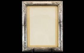 Antique Period Large Ornate / Silver Photo Frame of Rectangular Shape, The Edges and Borders with