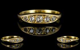 Antique Period Attractive 18ct Gold - 5 Stone Diamond Set Ring,
