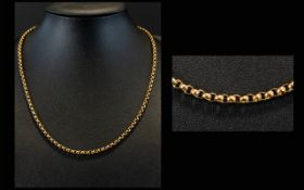 Antique Period 9ct Gold Belcher Chain of Solid Construction. Marked 9ct. 8.8 grams.