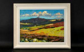 Bob Vigg (British 1932 - 2001) Untitled Oil On Board Depicting a Cornish landscape in impasto oils.