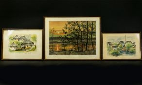 Three Original Watercolours By Otto Renz A prisoner of war during WWII,
