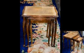 A Nest of Tables Of Typical Form, with Carved Queen Anne Legs and Apron Detail.