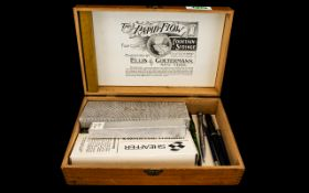 Empty Cigar Box Containing Mixed Collection Of Pens To Include Lady Scripto Pen Boxed,