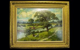 Hurst Balmford ( 1871 - 1950 ) River Wyre Near Great Eccleston. Oil on Canvas Affixed to Card. 21