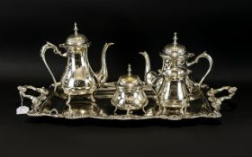 Four Piece Silver Plated Tea Service plus two handled tray.