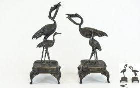 Japanese 19th Century - Realistic Pair of Bronze Figures / Sculptures of Cranes,