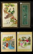A Collection Of Four Oriental Silk Embroidered Pictures The first depicting a pair of Peacocks on
