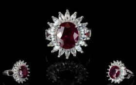 Ladies - Ltd Edition and Exclusive Excellent Quality African Ruby and White Topaz Sterling Silver