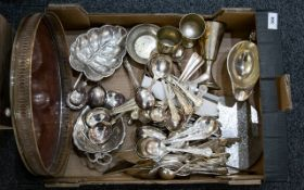 A Large Quantity of Silver Plated Flatware to include leaf form bon bon dish,