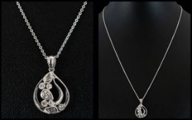 Contemporary 18ct White Gold Diamond Set Pendant in stylish teardrop design with attached 18ct