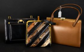 Three Vintage Handbags To include patchwork box frame bag with gold tone hardware and snakeskin