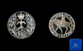 Royal Mint - United Kingdom Elizabeth II Silver Jubilee Silver Crown ' Proof Coin ' Struck In