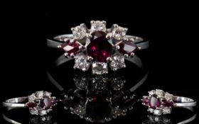 Ladies - Attractive 18ct White Gold Ruby and Diamond Set Dress Ring.