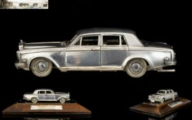 A Superb Quality Ltd Edition Sterling Silver 1-50 Scale Model with Moving Parts of a Rolls Royce