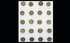 A Collection of British Silver ( Mostly Silver ) Florins - ( 20 ) In Total.