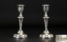 Elizabeth II - Nice Quality Pair of Silver Candlesticks with Tapered Stems,