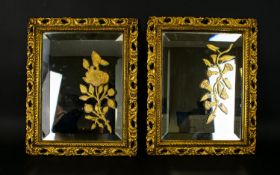 A Pair of Gilt frame Mirrors, With Applied Gilt Floral Detail.