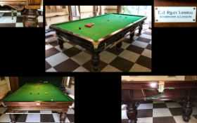 Riley Full Size Snooker Table. Mahogany Frame With Turned Supports. In Overall Good Condition.