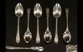 A Nice Quality Set of Six Silver Teaspoons, The Stems Highly Decorated with Images of Birds,