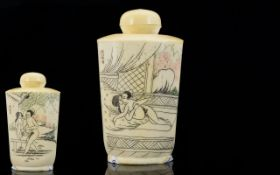 An Oriental Snuff Bottle The whole engraved with erotic scenes, 3.5 inches in height.