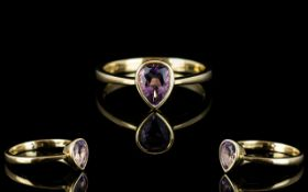 Ladies - Attractive 9ct Gold Amethyst Set Dress Ring,